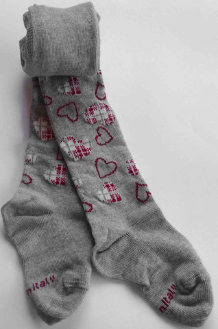 Rolled grey infant tights with patterned pink hearts  repeating on the legs and feet.