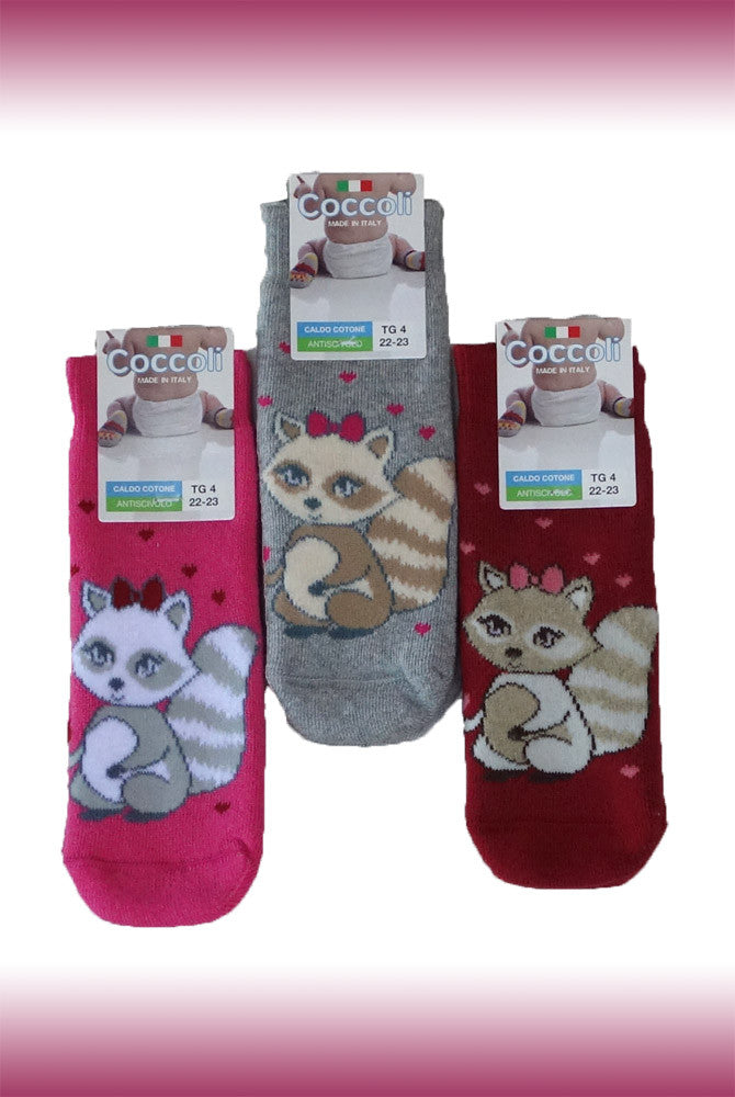Pink, grey and red squirrel print young girls Coccoli grip socks.