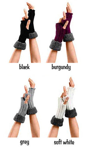 Four colour samples Bugie fingerless gloves, burgundy, grey, cream and black.