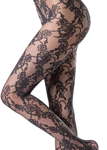 Close up of black floral lace pattern tights.