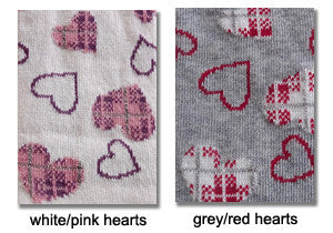 Grey and white swatches, Coccoli heart pattern tights.