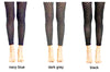 Three pairs of legs displaying black, navy and dark grey samples for Bugie footless tights.