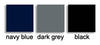 Black, navy, dark grey samples for Bugie Traforato footless tights.