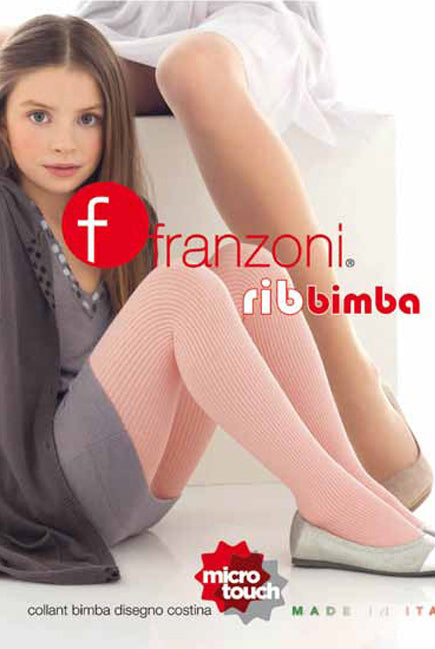 Front packet of Franzoni girls ribbed tights bimba available in Australia.