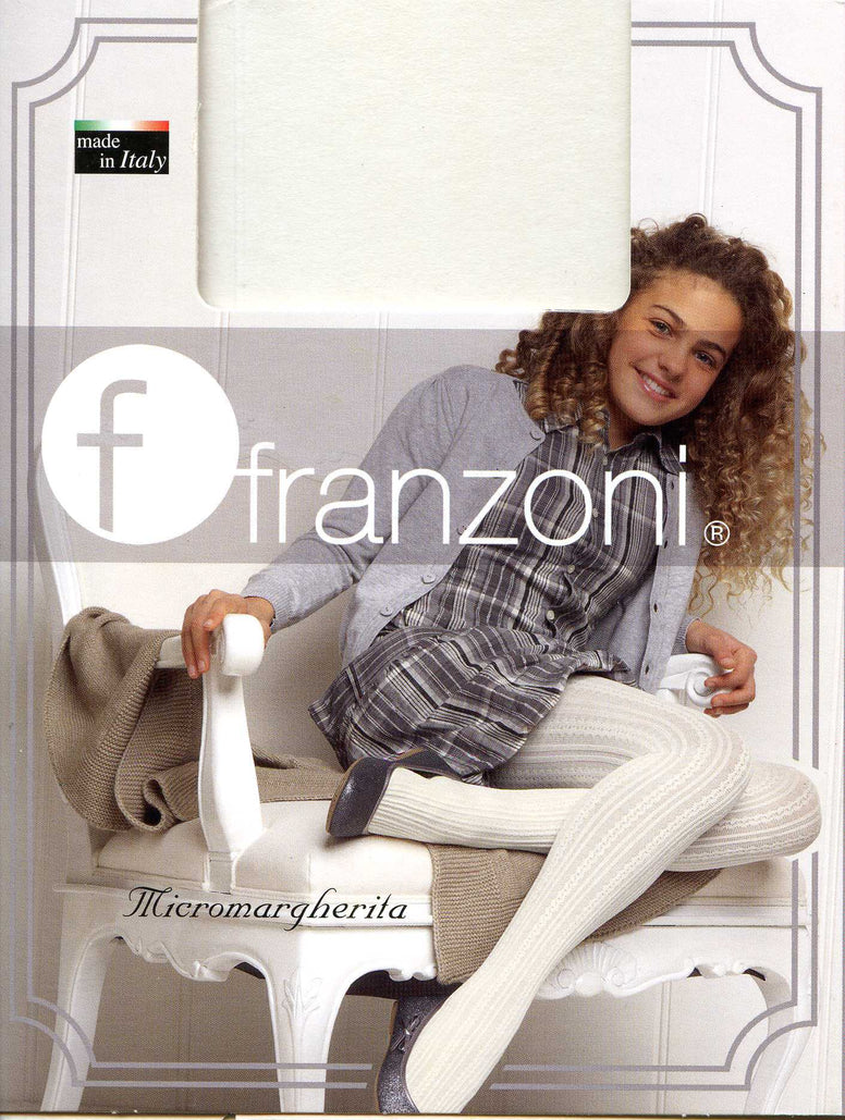 Packet containing Micromargherita tights by Franzoni on the front of the packet there is an image of young girl sitting on a chair with one leg tucked under the other. She is wearing a grey and white checked dress with a light grey cardigan, cream Micromargherita tights and black ballet flats.