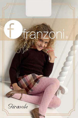 Young smiling girl sitting in a big white wooden chair wearing a black skivvy, check skirt and rose pink tights.