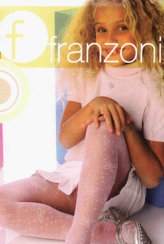 Young blonde girl with curly hair sitting with one knee up wearing pale pink butterfly print tights.