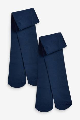 Two pairs of folded girls' navy blue tights.