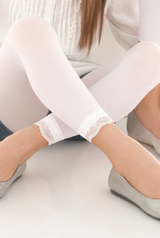 Close up of girls' opaque white lace trim footless tights.