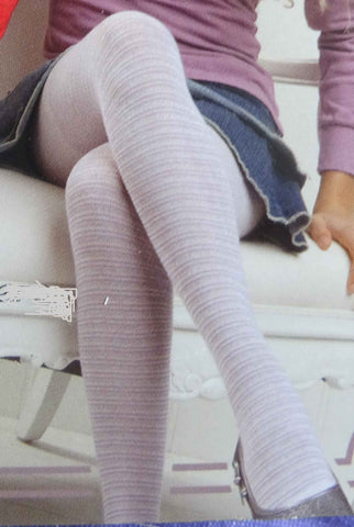 Close up of a girl's legs wearing lilac and white striped tights.