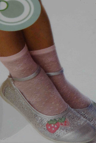 Girl's feet wearing silvery Mary Jane shoes and pink lace ankle socks.