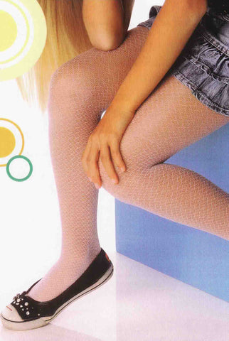 Close up of girl's legs wearing  fishnet tights and black flats.