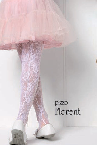 Back view of girl's legs wearing a flouncy pink tulle skirt and white floral lace tights.