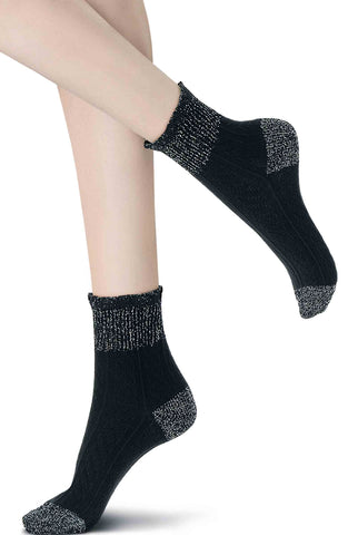 Oroblu Soft Braid Cashmere Silk Ankle Socks