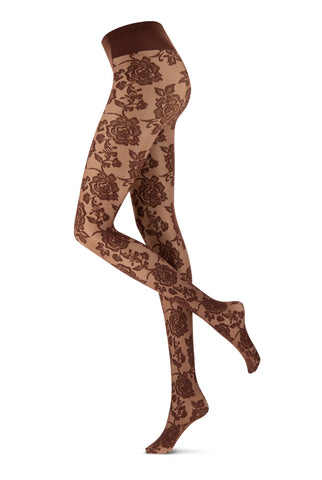 Side view of lady's legs in brown floral lace tights.