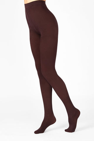 Side view of lady's legs in bordeaux red tights.