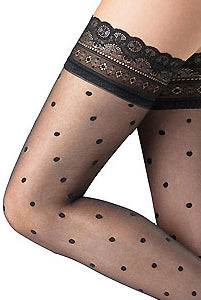 Close up of upper lady's thighs in black sheer lace hold ups.
