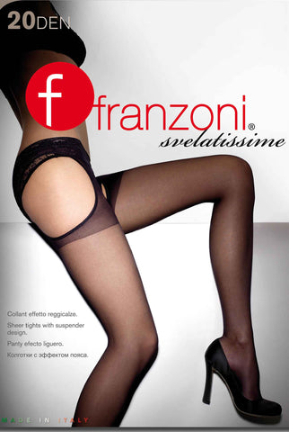 Front packaging for Franzoni crotch-less tights.