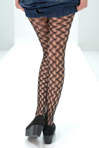 Back view of lady's legs wearing Oroblu black pattern Connie fishnet tights.