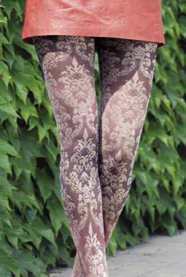 Oroblu Jasmine Floral Damask Semi Sheer Tights