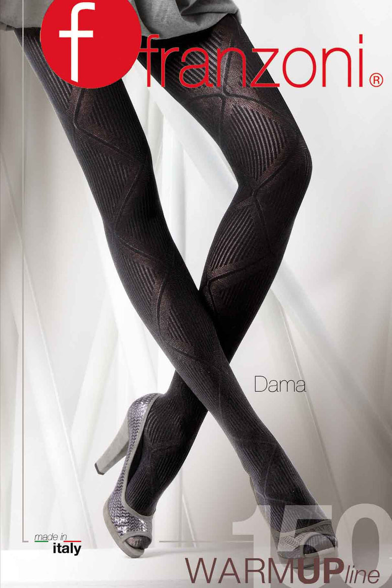 Lady standing, legs crossed at the ankles wearing large diamond patterned tights.