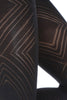 Close up of Maryann Oroblu large diamond black pattern tights available in Australia.