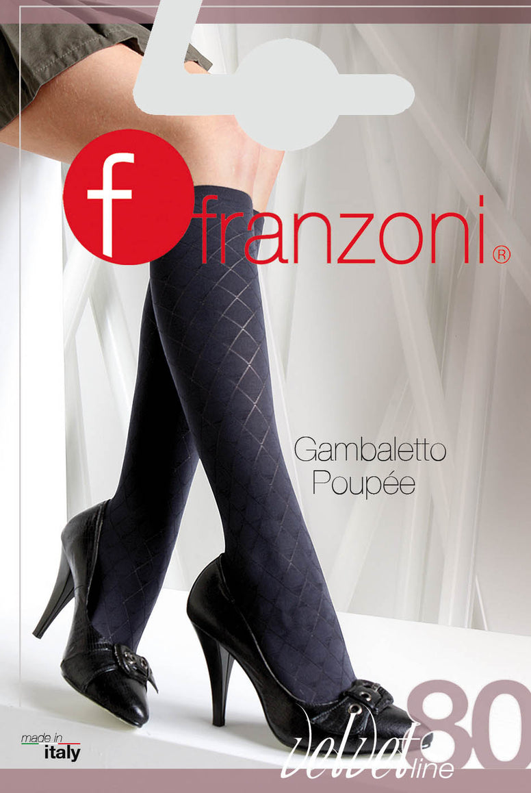 Front view of Franzoni socks packet displaying Poupee` knee highs.