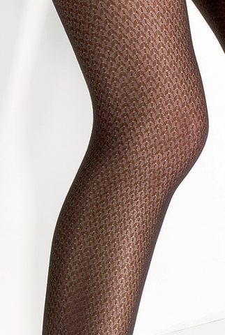 Close up of lady's knee and thigh, wearing red patterned sheer tights.