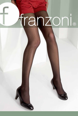 Front view of Franzoni hosiery packet with lady's legs in red patterned tights.