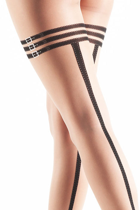 b89d23a2f4e Close up of Oroblu Glenda tights back view on lady s thighs with back seam  showing and ...