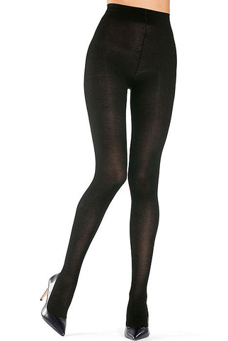 Front view of lady's legs wearing black, plain knit ,tights by Oroblu in high heels.