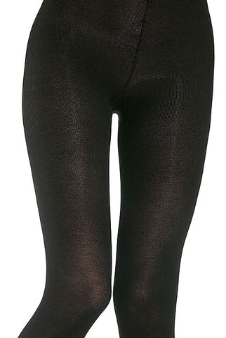 Front view of lady's thighs and panty are of lady wearing Oroblu black plain knit Cheryl tights