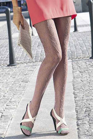 Lady's legs wearing,Oroblu Josephine fishnet pattern tights with white and green open toe sandals.