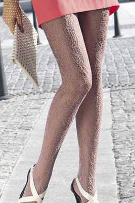 Lady's legs standing bent at the knee wearing fishnet pattern Oroblu tights.