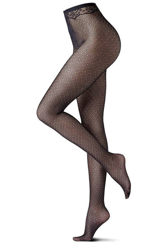 Side view of lady's legs in black thin net tights.