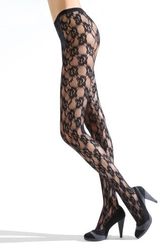 Side view of lady's legs in black floral lace pattern tights.
