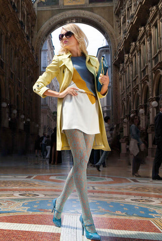 Lady walking through the Galleria in Milano wearing Catherine Oroblu lace tights.
