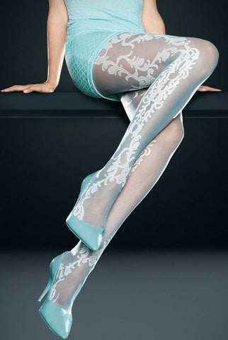 Close up of lady's legs displaying lace effect pattern tights.