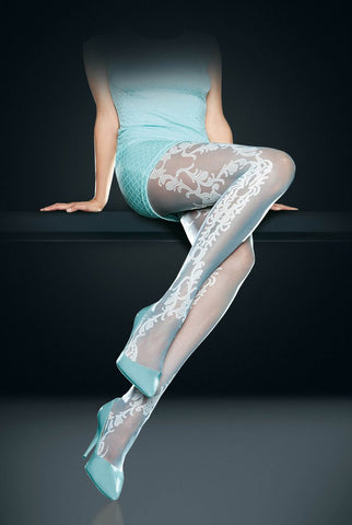 Lady's legs in sitting position wearing lace like tights and heels.