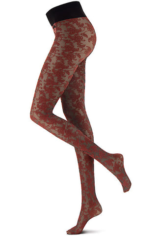 Side view of lady's legs in red sheer floral lace tights