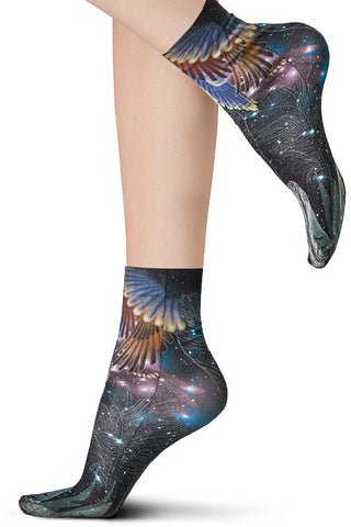 Close up lady's feet in Oroblu Galaxy print set ankle socks.