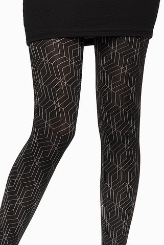 Front view of lady's legs standing upright, wearing Oroblu Gabriela, black geometric opaque tights in black shoes.