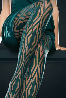 Close up of lady's lower legs in bottle green geometric patterned tights.