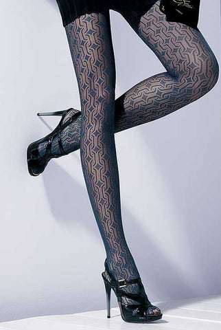 Close up of lady's legs wearing Oroblu Peggy marine blue Peggy sheer geometric tights.