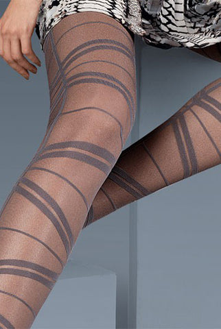 Close up of lady's upper and lower legs wearing Oroblu Sarah geometric pattern tights.