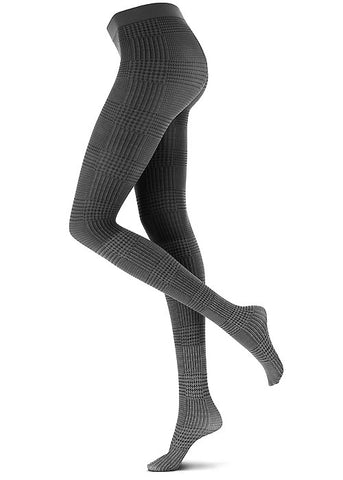 Side view of lady's legs in dark grey plaid tights.