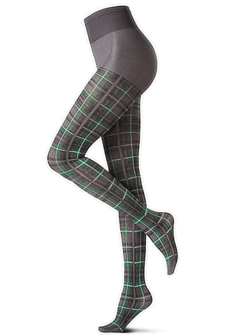 Side view of legs wearing green tartan tights.