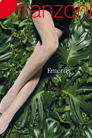 Lady's legs against a background of green plants wearing sheer diamond tights.
