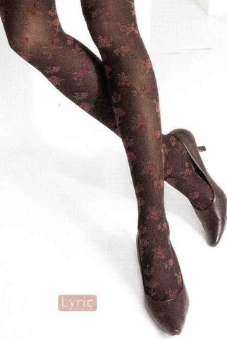 Close up of lower half of lady's legs crossed behind the knee wearing dark brown pink floral tights and brown high heel shoes.