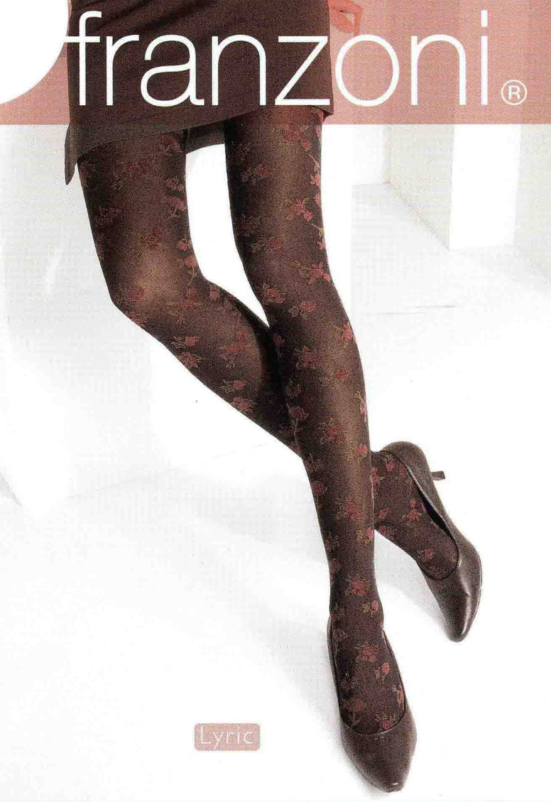 Hosiery packet displaying lady's legs wearing chocolate brown tights with pink and green floral print.